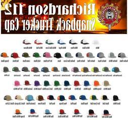 112 Richardson Trucker Ball Cap Mesh Hat Adjustable Snap bac