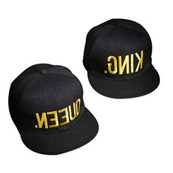 TENDYCOCO 2pcs Couples Snapback Caps Hip-Hop Hats King and Q