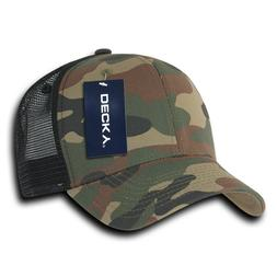 6 Panel Curved Bill Trucker Cap - Woodland Camo and Black