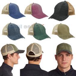 Adams 6-Panel Hat Pigment-Dyed Distressed Trucker Cap OL102