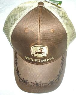 John Deere 6 Panel OilSkin Mesh Back Hat, Brown