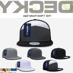 DECKY 7 Panel Trucker Hat Flat Bill Mesh Cap Snapback MOTO H