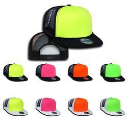 75 Lot Decky Neon Mesh Foam Flat Bill Trucker Hats Caps Two
