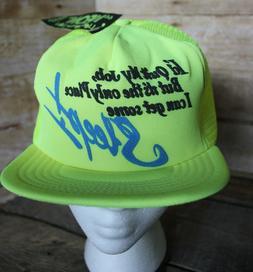80s 90s Vintage Funny WORK SLEEP Retro Neon Yellow Snapback
