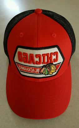 Adult CCM Chigao Blackhawks Snap Back Trucker Hat Cap Mesh B