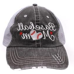 BASEBALL MOM Print Embroidered Women's Trucker Hat, Gray Mes