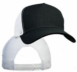 Big Size Black/White Trucker Mesh Cap  2XL - 4XL Adjust BIGH