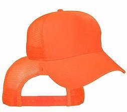 Big Size Safety Orange Trucker Mesh Cap  2XL - 4XL Adjustabl