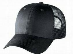 Blank Solid 6 panel Black Low profile trucker hat Mesh Snap