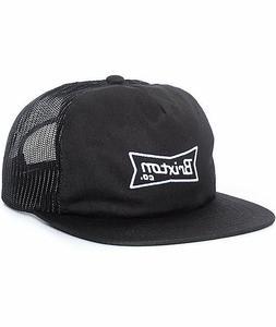 Brixton Pearson Men's Mesh Snapback Trucker Hat Black NEW