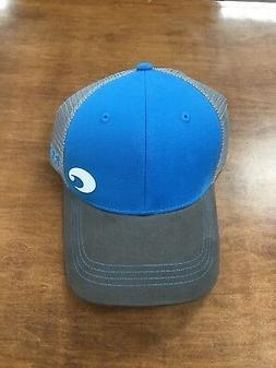 COSTA DEL MAR OFFSET LOGO HD TRUCKER HAT BLUE GRAY   NEW FOR