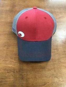 COSTA DEL MAR OFFSET LOGO HD TRUCKER HAT RED GRAY  NEW FOR 2