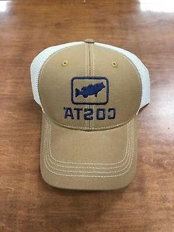 COSTA DEL MAR XL BASS TRUCKER HAT WORKING BROWN  NEW FOR 201