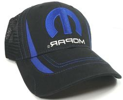 Mopar Trucker Hat Cap Mesh Black Blue M Embroidered Emblem D