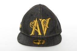 NWOT RVCA Trucker Hat 7 3/8 Black Denim Wide Brim Fitted Cap