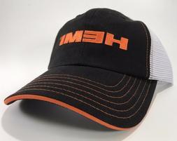 New Black Orange HEMI Logo Emblem Trucker Hat Cap Dodge SRT