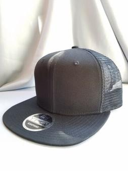 New Era 9Fifty Flat Snapback Trucker Hat Cap Blank { BLACK/B
