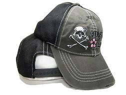 Pirate Girl Flower Grey Trucker Washed Distressed Mesh Embro