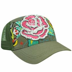 TRUCKER MESH ROSE HAT CAP FASHION NOVELTY OLIVE ADJ NEW