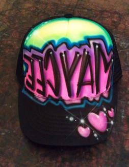 Airbrushed Personalized Trucker Hat with Custom Name Hearts
