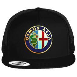 Alfa Romeo - Classic Car Logo Emblem Printed on Black Hat Fl