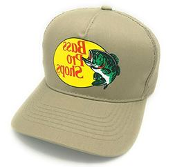 Authentic Bass Pro Mesh Fishing Hat - Khaki, Adjustable, One