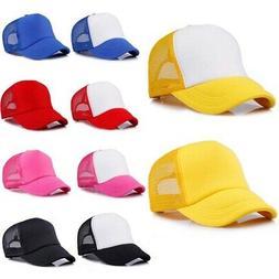 Baby Boy Girl Trucker Blank Curved Visor Hat Adjustable Mesh