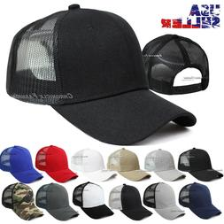 Trucker Hat Mesh Baseball Cap Snapback Adjustable Solid Blan