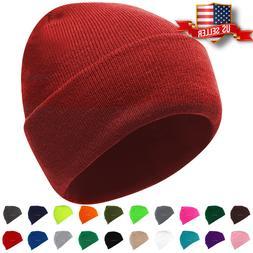 Beanie Hat Mens Womens Plain Knit Ski Cap Warm Slouchy Skull