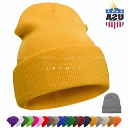Beanie Plain Knit Hat Winter Solid Cuff Cap Slouchy Skull Sk