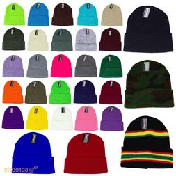 Beanie Plain Knit Ski Hat Skull Cap Cuff Warm Winter Blank C