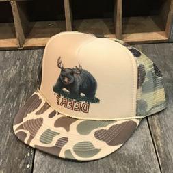 Beer? Bear? Deer?  Trucker Hat Funny 80s Vintage Snapback Hu
