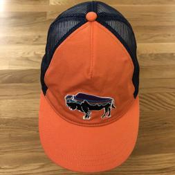Patagonia Bison Blue Orange Buffalo Logo Snap Back Trucker H