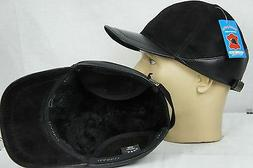 Black 100% Shearling Leather & Suede Earflaps Baseball Cap H