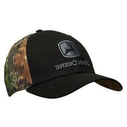 JOHN DEERE Black Front/Camo Back Stretch Fitted Hat/Cap LP67