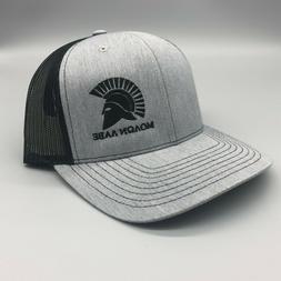 Black, Heather Grey Richardson 112 trucker hat with custom M