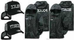 Black Security Police Windbreaker Zipper Jacket Hood Trucker