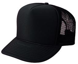 Black Trucker Hat Brand New - Black Mesh Black Foam Mesh Cap