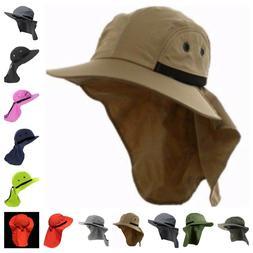 Boonie Snap Hat Brim Ear Neck Cover Sun Flap Cap Outdoor Hik
