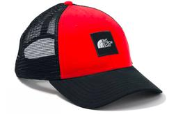 The North Face Box Logo Trucker Snapback Hat Red Black NF0A3
