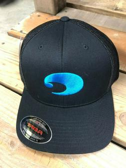 BRAND NEW COSTA DEL MAR FLEXFIT LOGO TRUCKER HAT - BLACK