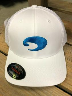BRAND NEW COSTA DEL MAR FLEXFIT LOGO TRUCKER HAT - WHITE