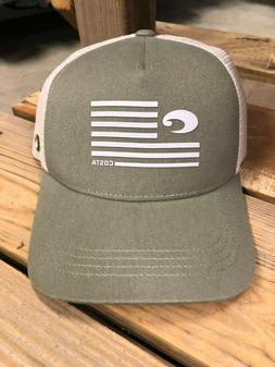 BRAND NEW COSTA DEL MAR TWILL TRUCKER PRIDE FLAG LOGO HAT -