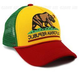 California Republic hat Foam RASTA Colors Snapback Mesh Truc