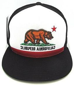 CALIFORNIA REPUBLIC Snapback Cap CALI Bear Trucker Mesh Flat
