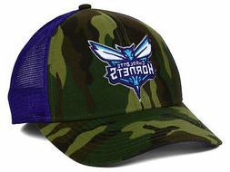 Charlotte Hornets Adidas Camo and Purple Trucker NBA Snapbac