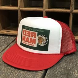 Red Man Chew Vintage 80's Style Trucker Hat Snapback Red T