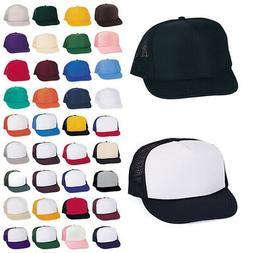 Classic Trucker Baseball Hats Caps Foam Mesh Blank Solid Two