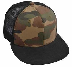 DECKY Cotton Flat Bill Trucker Cap, Black/Woodland/Black