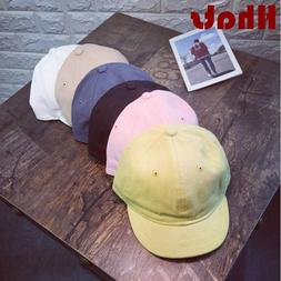 Cotton Short Brim Baseball Cap For Women Men Solid Soft Brim